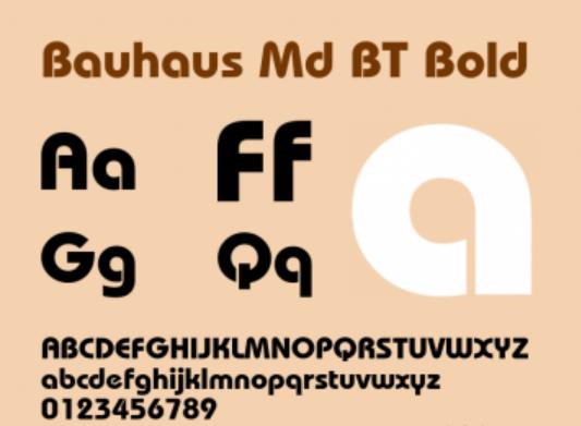 Bauhaus Md BT Bold Font